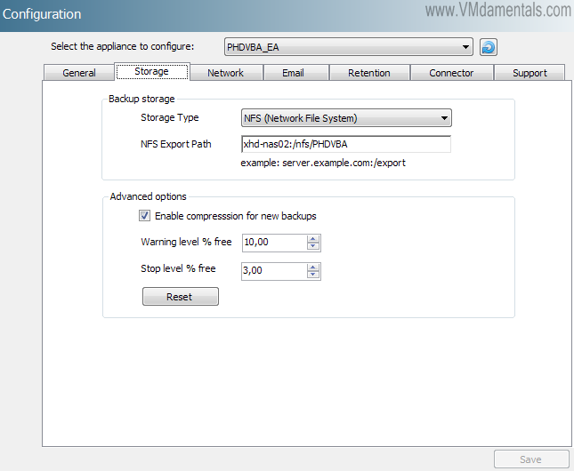 Configure storage for the new VBA